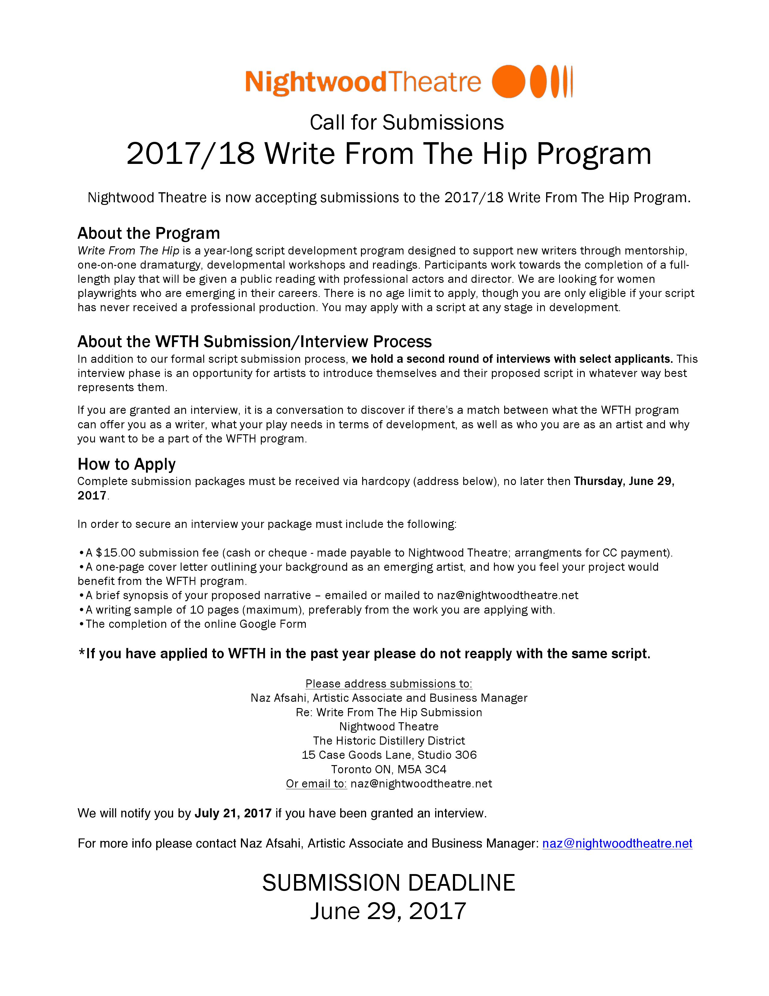 WFTH Submission Call 2017-18