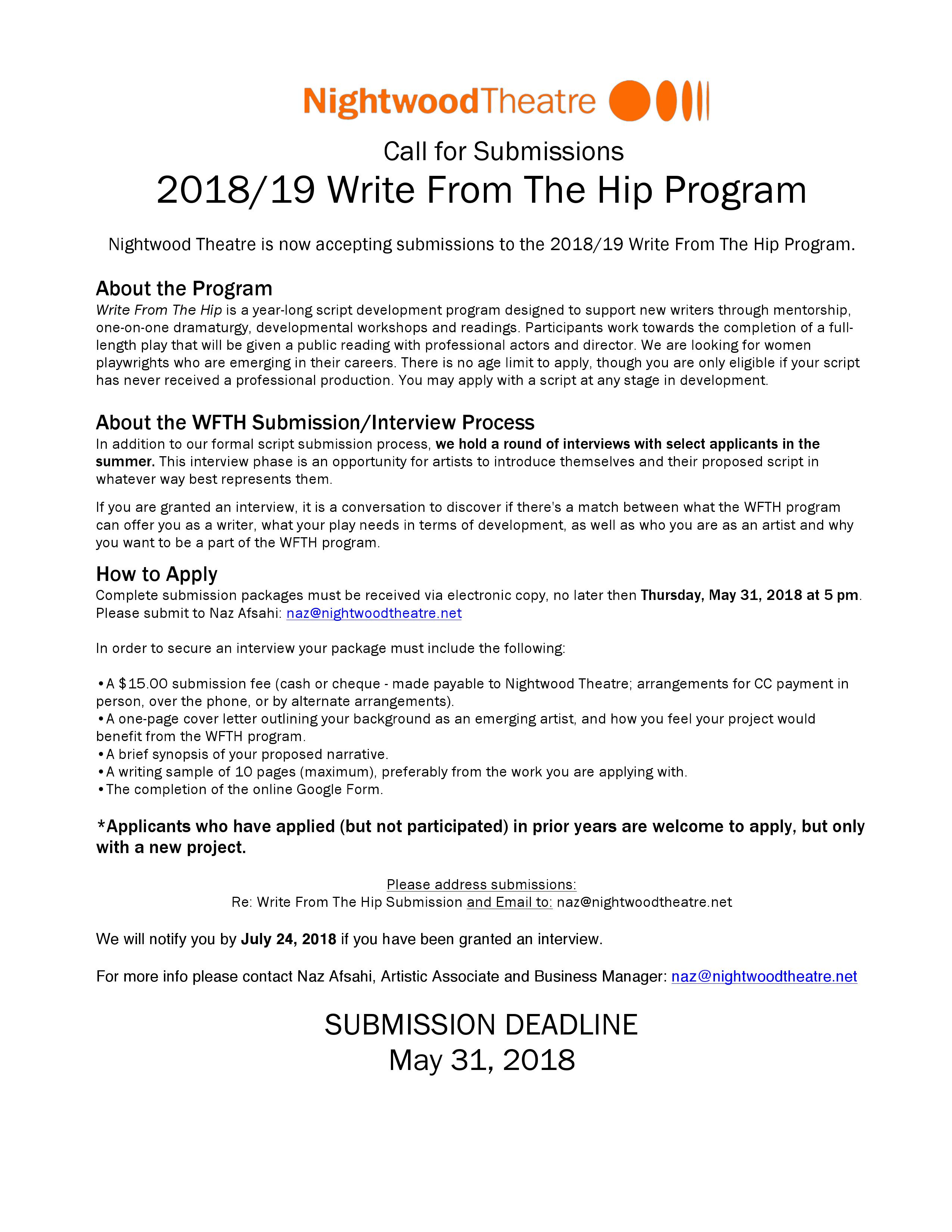 Submission Call for 2018-19 Write From The Hip