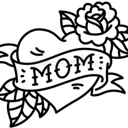 "Drawing of the word ""MOM"" in a heart"