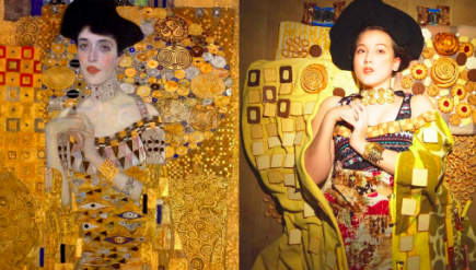 Woman recreating painting
