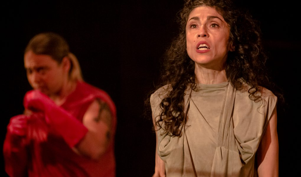 Photo of Janis Mayers and Lara Arabian in The Solitudes. Aluna Theatre in association with Nightwood Theatre. Photo by Jeremy Mimnaugh.
