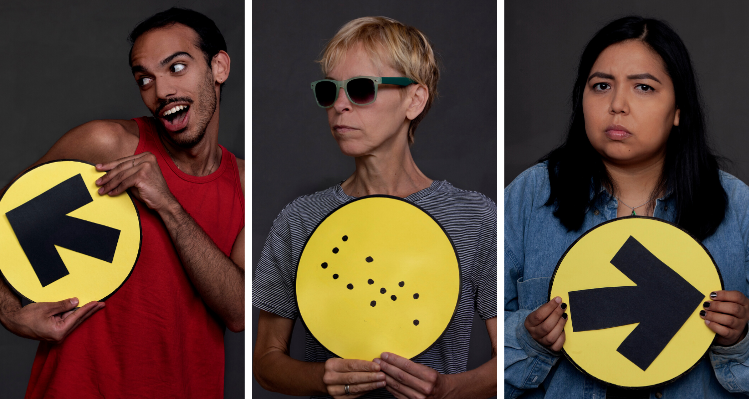 Studio headshots of Augusto Bitter, Alex Bulmer, and Joelle Peters holding election signs