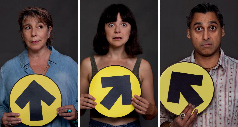 Studio headshots of Rose Stella, Natasha Greenblatt, and Anand Rajaram, holding election signs.