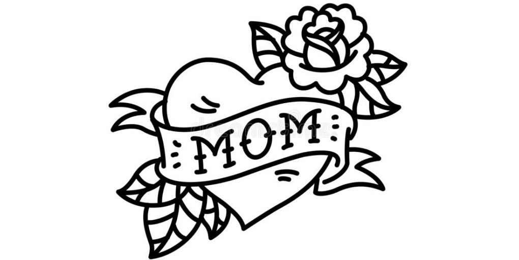 "Drawing of the word ""MOM"" in a heart."