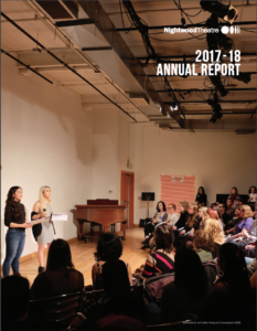 2017-2018 Annual Report. Two women address an audience.