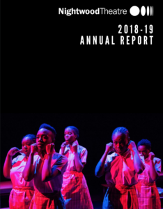 2018-2019 Annual Report cover. Five women in school uniforms stand under stage lights.