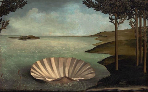Painting of a large clam shell