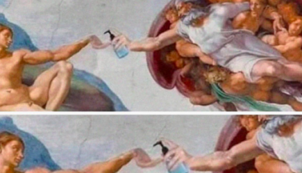 renaissance painting with hand sanitizer