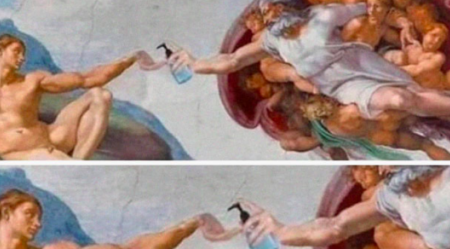Renaissance painting with hand sanitizer.