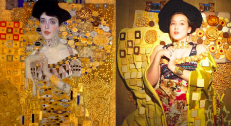 Woman recreating a painting using household objects.