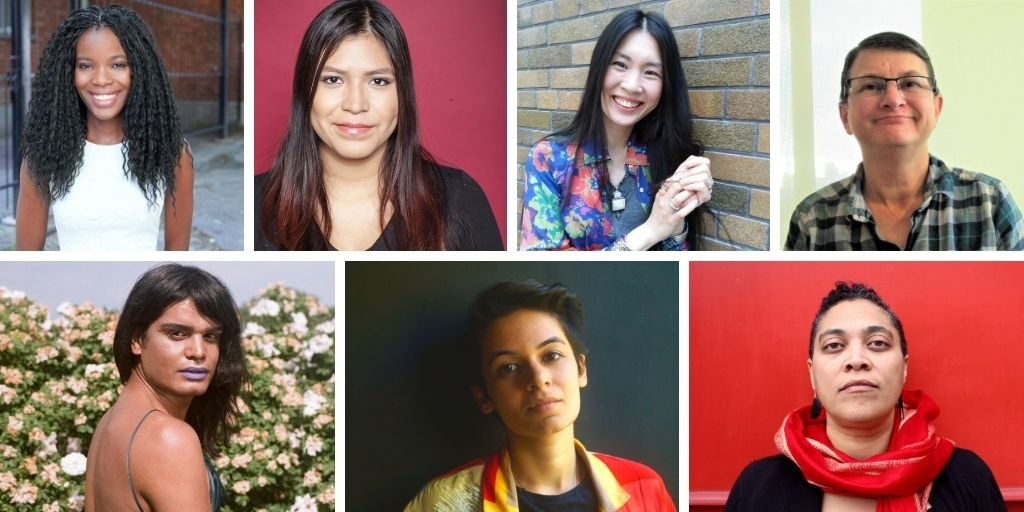Images of each member of the write from the hip program arranged in a grid, clockwise from the top left corner: Rachel Mutombo, Pesch Nepoose, Phoebe Tsang, Shelley M. Hobbs, Donna-Michelle St. Bernard, Erum Khan, and Bilal Baig.
