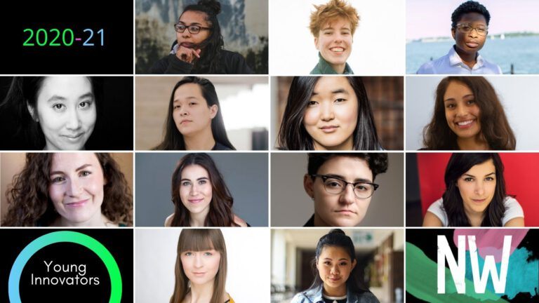 4 by 4 grid featuring the 13 young innovators. Additional squares read 2020-21 Young Innovators, and the Nightwood logo.