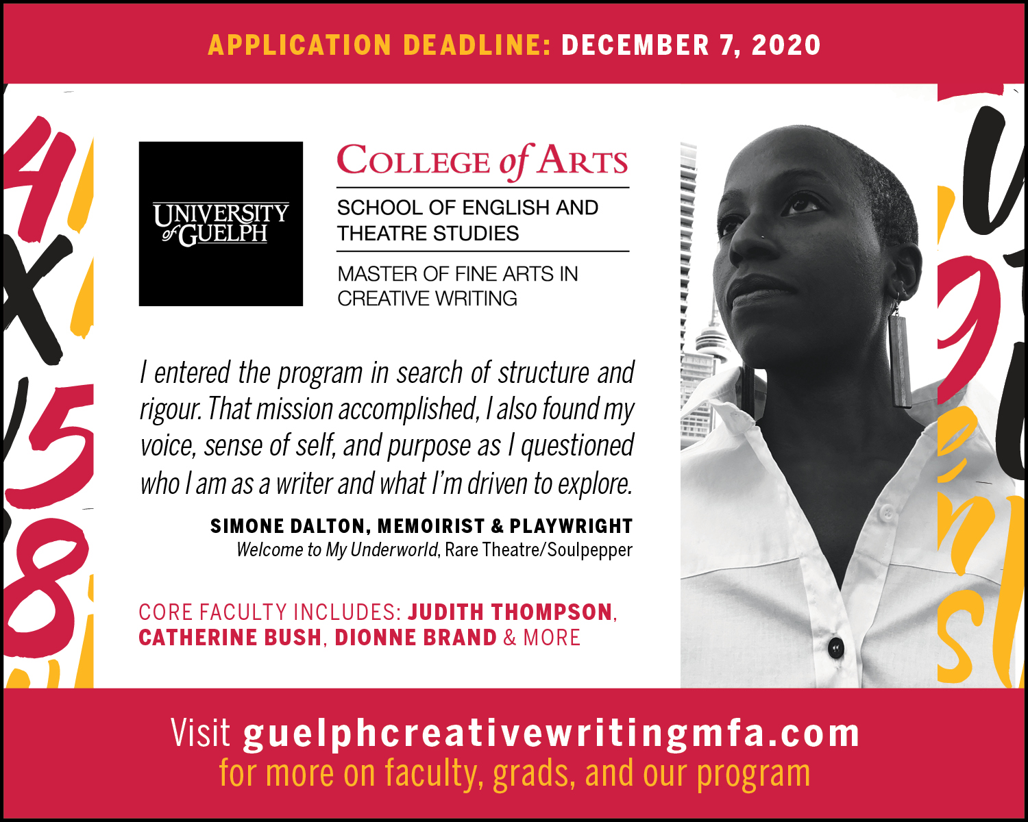 Image of memoirist and playwright Simone Dalton with a quote from them about the Guelph MFA cCreative Writing program. Application deadline December 7th.