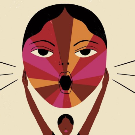 Illustration of a Black woman holding up a multicoloured face.