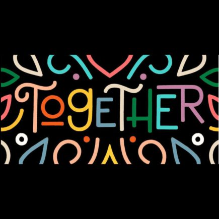 "The word ""together"" and brightly coloured shapes."