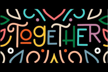 """The word """"together"""" and brightly coloured shapes."""