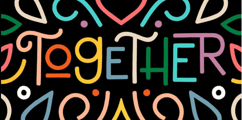 """Colourful lines on black background surrounding the word """"Together"""""""