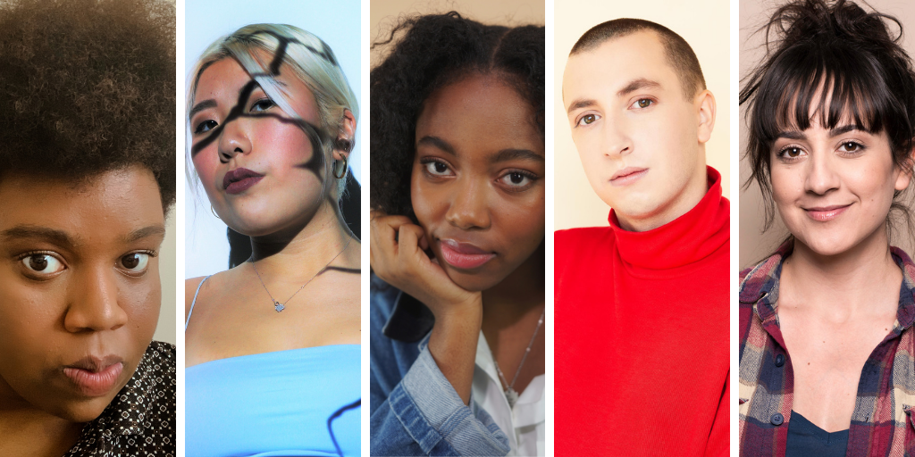 Headshots of WFTH playwrights. From left to right, Omolola Ajao, Stephanie Fung, Juliet Jones Rodney, Merlin Simard, and Jillian Welsh.