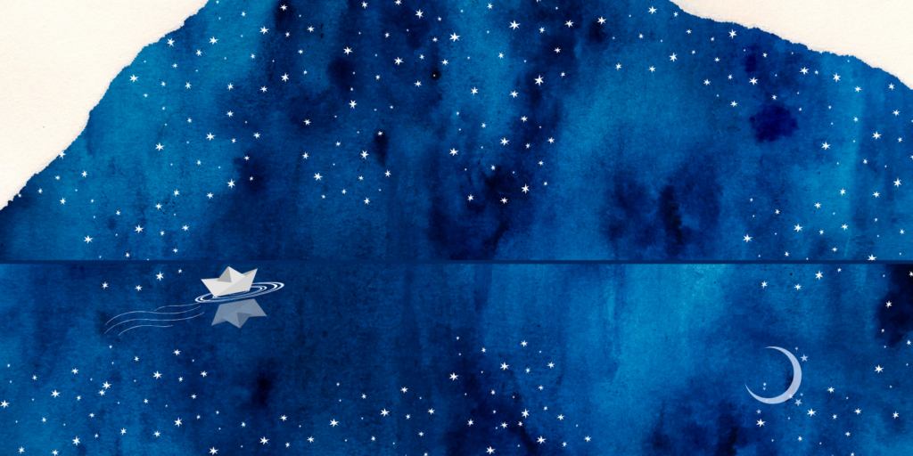 The image shows a paper boat sailing on a dark blue ocean with a dark blue sky above. The sky is full of stars that are reflected in the water, and there are paper tears at the top corners of the sky.